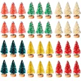 Cholung 48 Pieces Artificial Mini Christmas Trees Bottle Brush Mini Trees Snow Frosted Trees with Wood Base Plastic Tabletop Trees Ornaments for Christmas DIY Crafting Home Decor, 1.8 Inch, 6 Colors