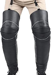cheerfullus Motorcycle Riding Protective Knee Pads,Men's Windproof Winter Ski PU Leather Leg Gaiter with Adjustable Strap,Warm Leggings Covers for Outdoor Camping
