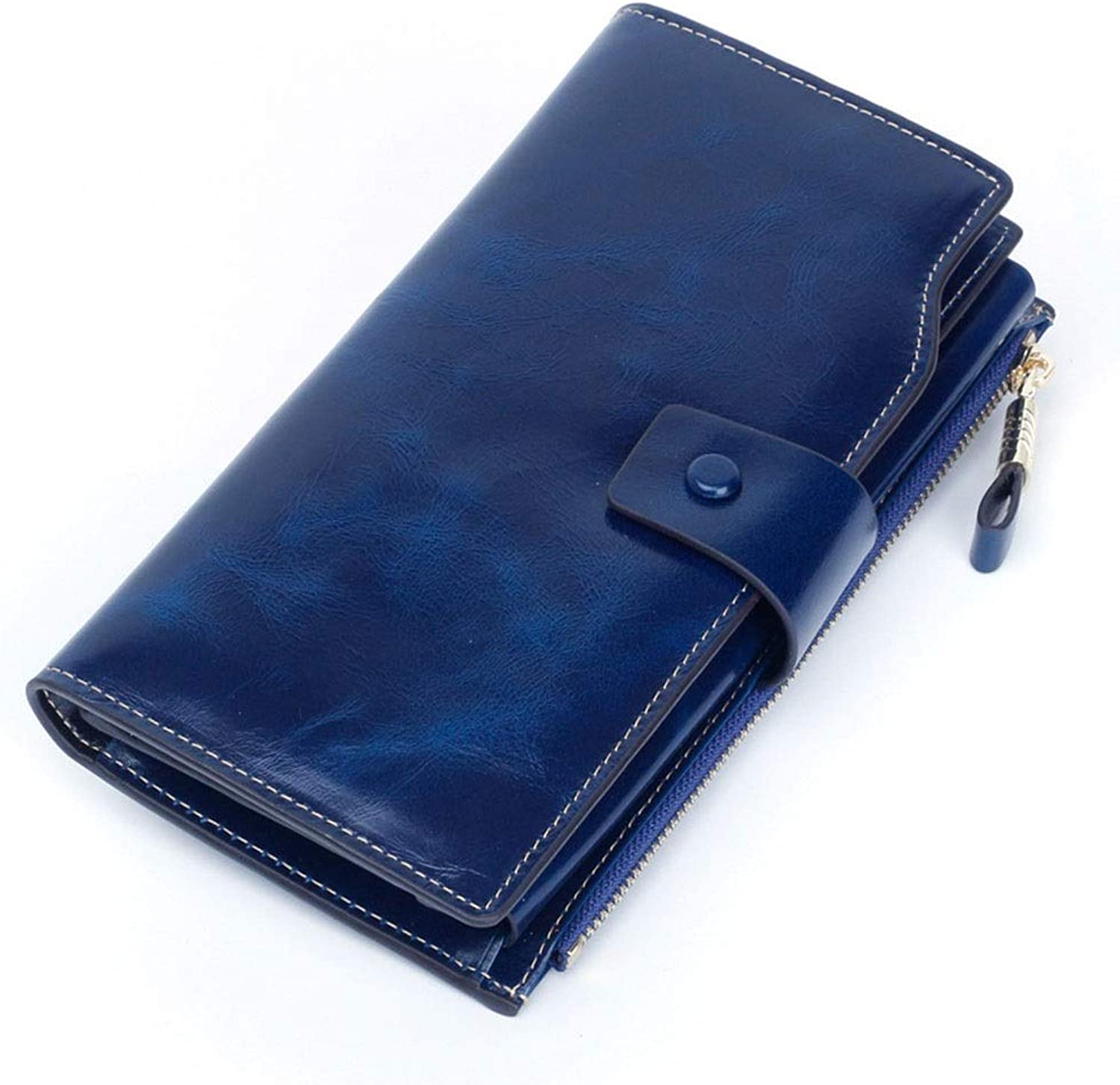 Women's Wallet AntiMagnetic RFID Leather Ladies Wallet MultiCard Female Women's Wallet Splicing Large Capacity Wallet (color   bluee)