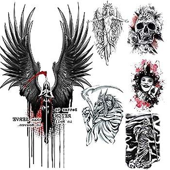 6Pcs Flower Arm Tattoo Sticker Angel Wings Skull Death Scythe Creative Design Tattoo Set Water Transfer Waterproof Tattoo Sticker Halloween Men and Women Personality Decoration Horror Tattoo Sticker