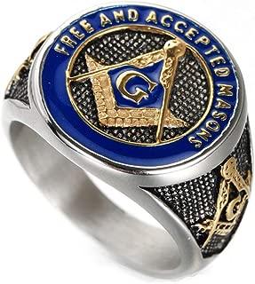 Guraxi 18K Gold Plating Religious Masonic AG Blue Oil Stainless Steel Rings for Mens