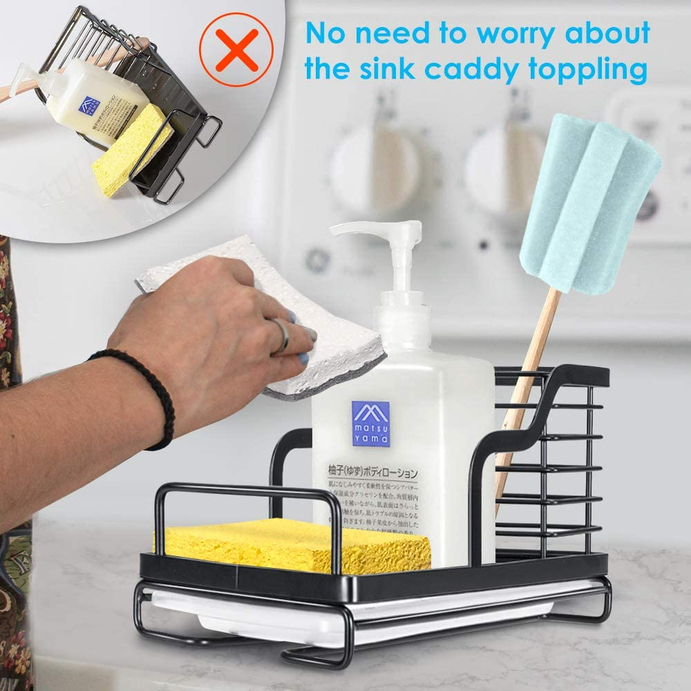 Nieifi Sink Caddy Organizer Sponge Soap Brush Holder with Drain Pan Stainless Steel for Kitchen Black