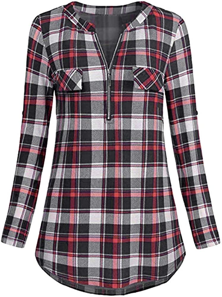 FUNEY Womens Casual V-Neck Rolled Sleeve Zipped Plaid Printed Tee Tshirts Plus Size Loose Fit Cotton Tunic Tops Blouse