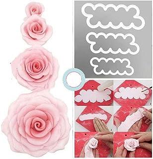 CHSYOO Set de 3 Tailles gâteau Roses Cookie Cutter, ustensiles de Cuisson pour Bricolage décoration Fondant tartelettes ma...