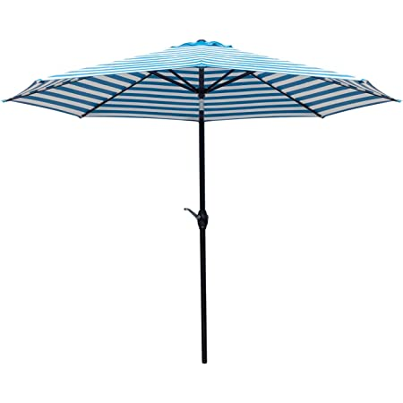 Greesum 9FT Patio Umbrella Outdoor Market Table Umbrella with Push Button Tilt, Crank and 8 Sturdy Ribs for Garden, Lawn,Backyard & Pool,White and Blue