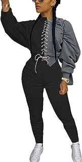 Remelon Womens Casual 2 Piece Sweatsuit Long Sleeve Leopard Print Patchwork Top Long Pants Outfit Tracksuits