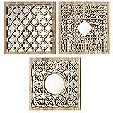Home Collection - Muebles, decoración - conjunto de 3 espejos de pared - Patrón: árabe - Estilo: étnico - Color: natural - 30 cm