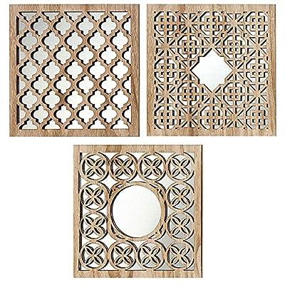 Material: cristal transparente y madera Color: marrón Dimensiones aproximadas: H 30cm Forma: escuadrón Juego de 3 piezas diferentes