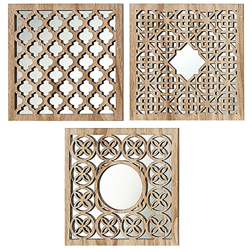 Home Collection 3 Holz Wandobjekte Spiegel Wand Spiegelobjekte orientalisch Marrakesch 30cm Sortiert
