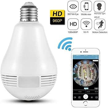 Finicky-World Wireless Panoramic Bulb 360° IP Camera ,960P Fisheye Vision, Remoting Monitoring Home Security Camera LED Bulb Light,with Hidden Camera, Two-Way Audio and Support Micro 128GB SD Card