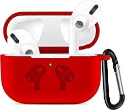Priefy Soft Silicone Full Protective Shockproof Cover with Keychain Set Compatible with Apple AirPods Pro 3rd Gen 2019 - Red