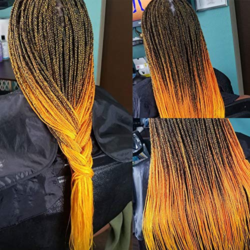 Pre Stretched Braids Hair 26 Inch Hot Water Setting Ombre Jumbo Synthetic Fiber Braiding Hair Extensions Ombre Black to Orange (26, T1B/Orange)