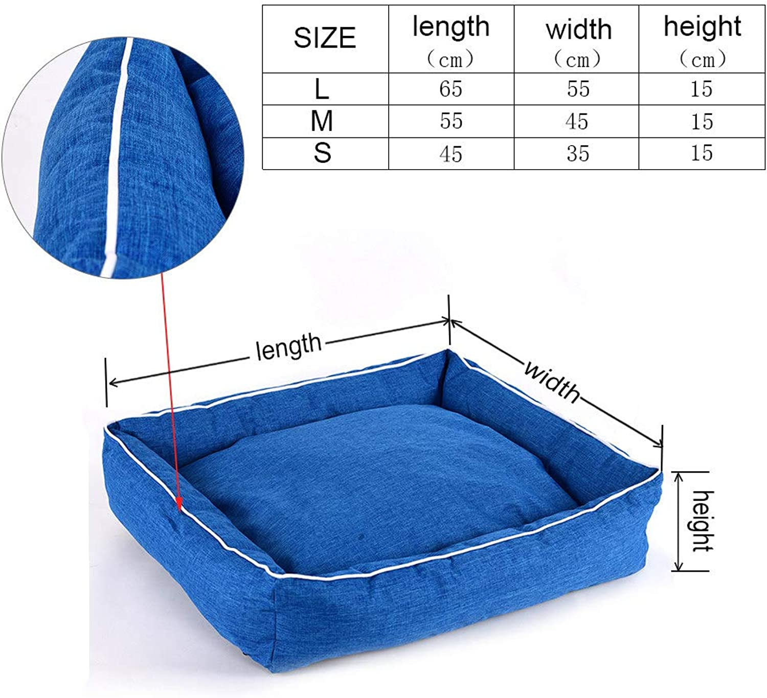 Cookisn Pet Bed for Dogs Cats Cotton Bench for Puppy Bed for Small Medium Dogs House Warm Lounger Mats for Dogs Bed Pet Cushion COO050 bluee S 45 x 35 x 15cm