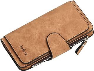 URBIUTF Large Capacity Wallet for Women PU Leather Clutch Bifold Card Holder Zipper Cash Purse, Brown