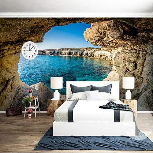Hwhz Mural 3d despegable Photo Wallpaper Modern Simple Cave Seascape Nature Mural Sala De Estar Dormitorio Decoración Interior Wallpaper Space Expansion Wallpapers-250X175Cm