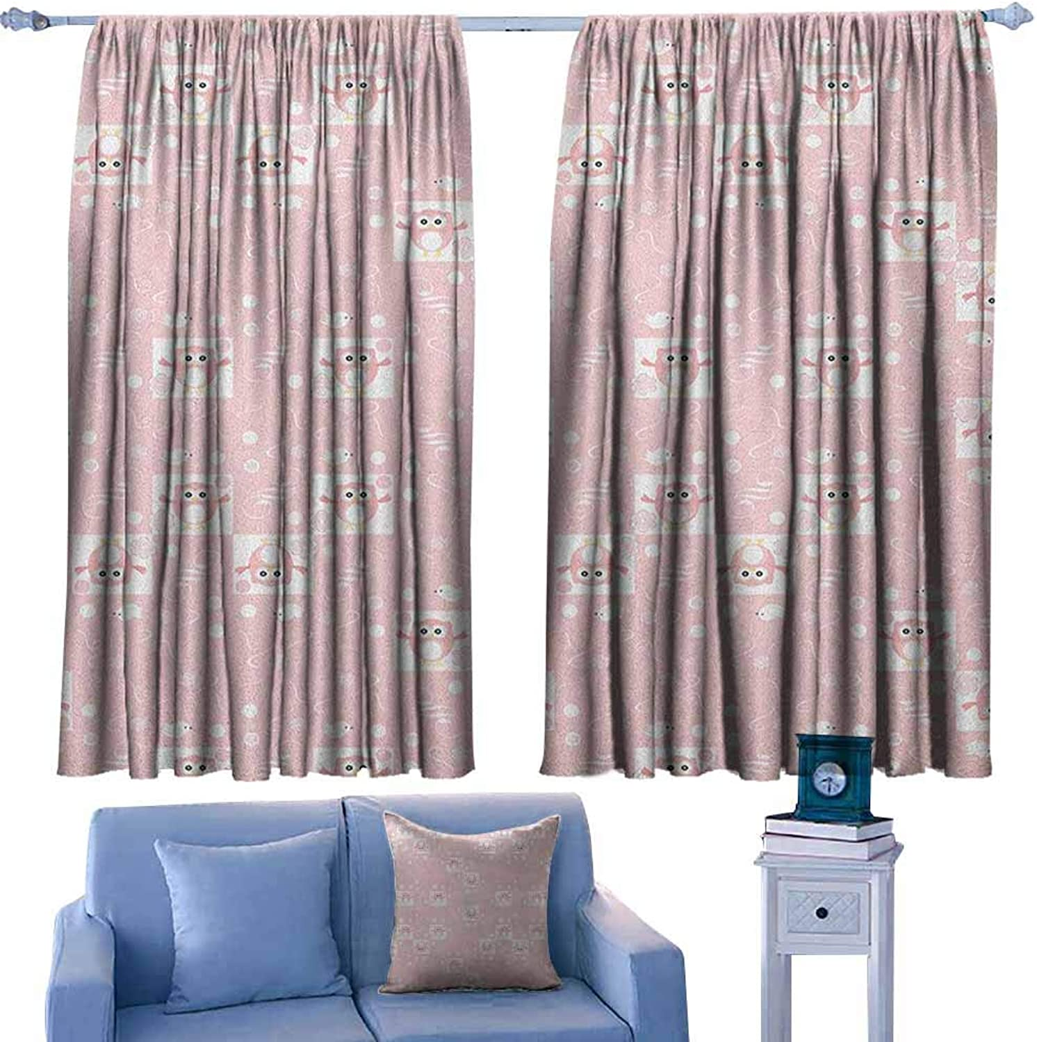 AndyTours Rod Pocket Blackout Drapes,Kids Pink Owls and Little Birds on Cute Floral Backdrop Girlish Pattern with Swirls,Insulated with Curtains for Bedroom,W55x45L Inches Pale Pink White