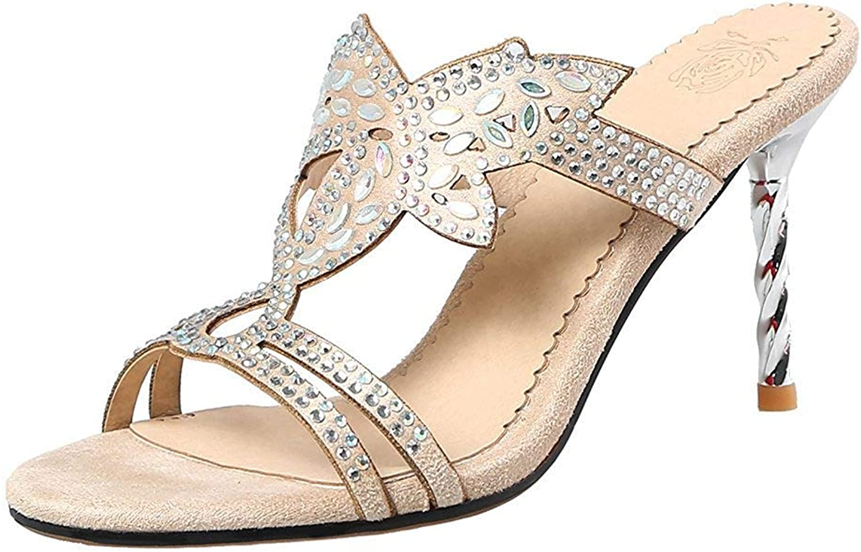 Lelehwhge Women's Elegant Rhinestones Cut Out Open Toe High Stilettos Heel Slide Sandals Apricot 8 M US