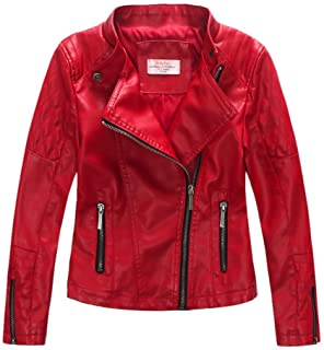 7475d5bc98949 LJYH Girls'Faux Leather Quilted Shoulder Motorcycle Jacket