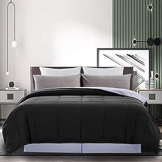 DOWNCOOL Reversible Down Alternative Comforter- All Season Ultra Soft Duvet Insert 4 Loops-Box Stitched- Machine Washable ...