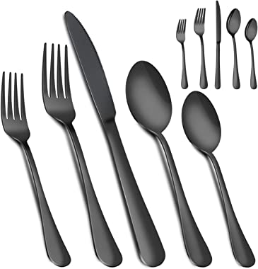 Silverware Set, MASSUGAR 20-Piece Silverware Flatware Cutlery Set, Stainless Steel Utensils Service for 4, Include Knife/Fork