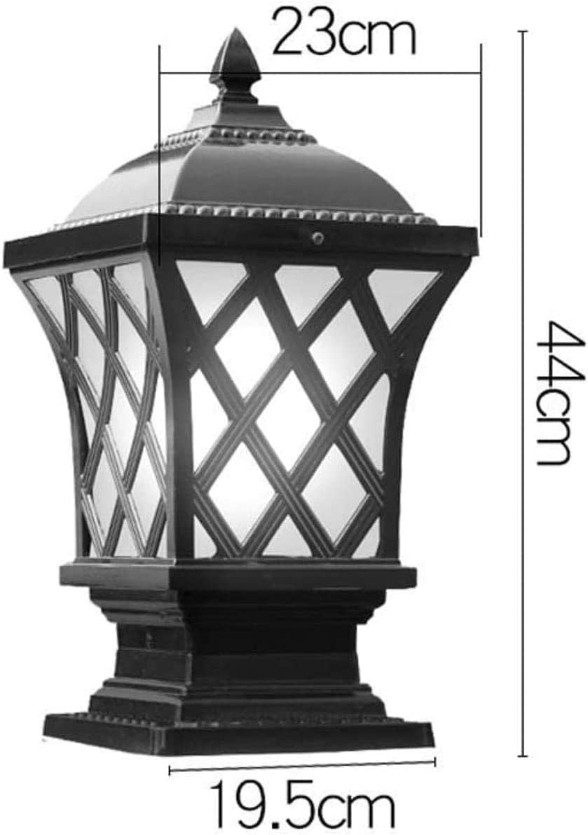 YMJ Post Lights-outdoor Post Light Outdoor Pillar Light Vintage Column Lamp Waterproof IP65 Villa Patio Aisle Lawn Balcony Post Lantern Garden Pedestal Lamp Fixture Color : Bronze, Size : Small