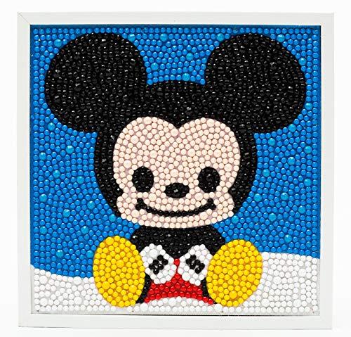 5D Pintura de Diamantes para niños Mickey Disney – Pintar con Diamantes con Marco de Madera – Diamond painting kit completo para principiantes – Cuadros diamantes para niños y niñas