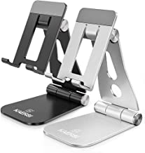 Cell Phone Stand 2 Pack Silver and Black, KAERSI Adjustable Foldable Phone Stand Holder Cradle Dock for Desk, Office, Travel Compatible with Smartphone, iPhone 11 Xs XR 8 7 Plus, Tablet iPad