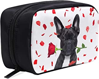 Dog Lying In Bed Full Of Red Flower Portable Travel Makeup Cosmetic Bags Organizer Multifunction Case Small Toiletry Bags For Women And Men Brushes Case