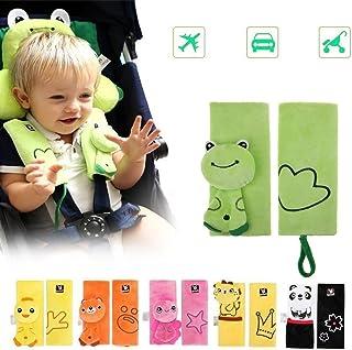 DQTYE Weiche Cartoon Baby Kind Tiergeschirr Auto Sicherheitsgurt Strap Covers Sicherheit Schulterpolster Schutzkissen für Säugling Kinderwagen Sicherheitsgurt - Green Frog