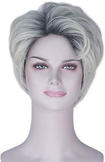 Miss U Hair Women Short Wavy Hair Black Ombre Platinum Handsome Cosplay Costume Wig