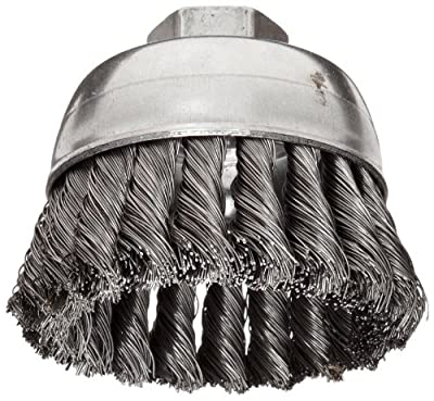 Weiler Wire Cup Brush, Threaded Hole, Steel, Partial Twist Knotted