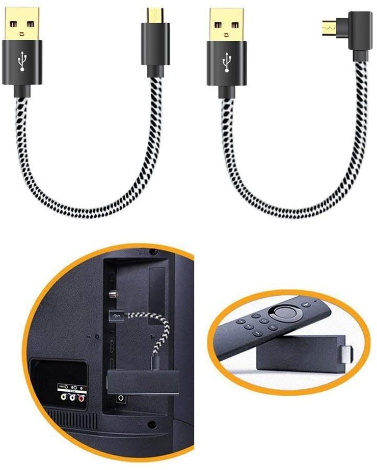 USB Power Cord for Fire TV Stick Power up Your Fire TV Stick Form Your TV's USB Port, USB Cable for Fire TV Stick/Chromecast/Roku Stick, 2 Pack 8 Inch (1 Straight 1 Angle)