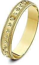 Theia Anillo de Bodas de Oro Amarillo o Oro Blanco, 9K, Peso Pesado - Diseño círculo con borde en milgrain, en forma de D, 4-6mm