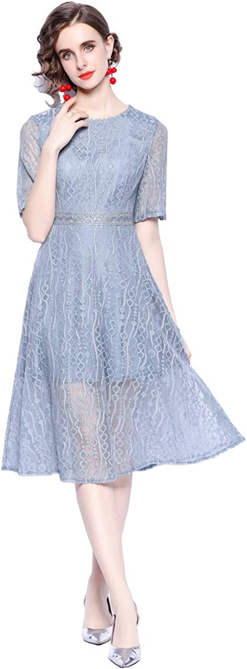 HAOKEKE Women Knee Length Dress Blue Lace Vintage O Neck Short Sleeve Summer Clothes