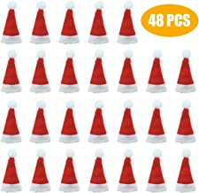 Jyongmer 48 Pieces Mini 2.7 inch Red Santa Claus Hats Christmas Hat for Lollipop Candy Cover, Party Decoration, Wraps Toppers Decor, Doll Crafts