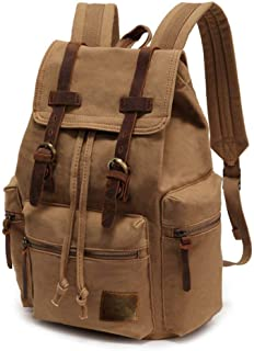 High Capacity Canvas Vintage Backpack - for School Hiking Travel 12-15 Laptop