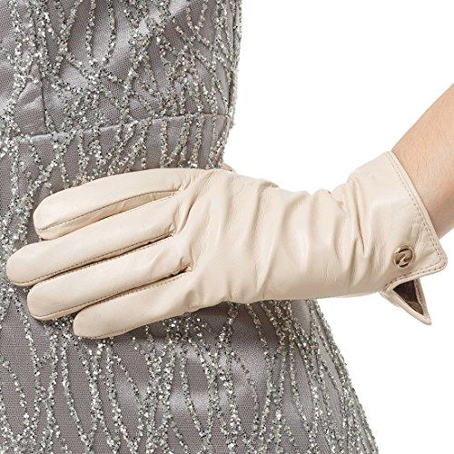 Nappaglo Damen Italienisches Lammfell Leder Handschuhe Touchscreen Winter Warm Langes Fleecefutter Handschuhe (XXL (Umfang der Handfläche:21.6-22.8cm), Weiß(Non-Touchscreen))