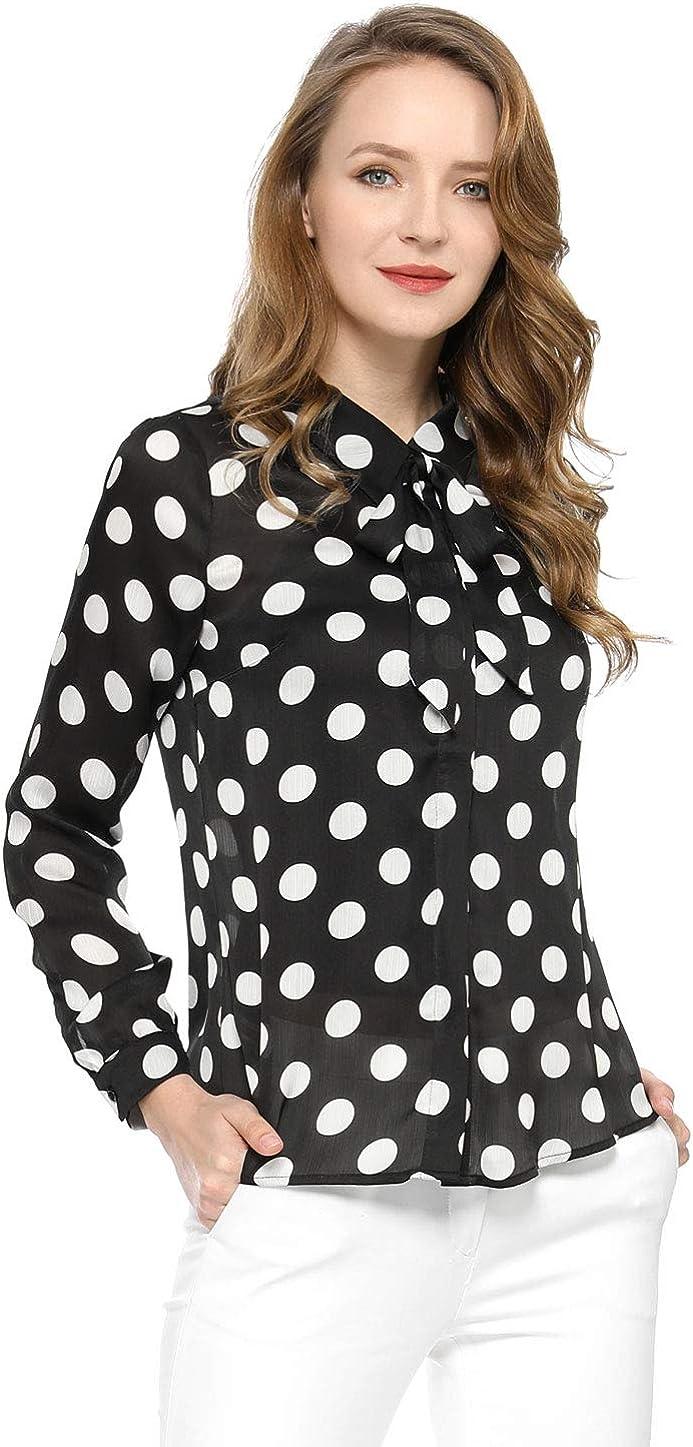 Allegra K Women's Tie Neck Blouse Button Down Polka Dots Shirt