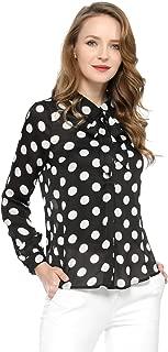 Allegra K Women's Tie Neck Blouse Button Down Polka Dot Shirt