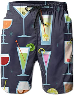 Alcohol Drinks and Cocktails Men's Funny Swim Trunks Quick Dry Summer Surf Beach Board Shorts with Mesh Lining/Side Pockets
