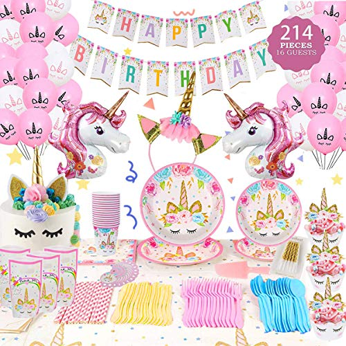 Shelling Home Birthday Party Supplies Including Plates Cups Straws Tablecover for Birthday Party Serve 16 Guests (214 pcs)