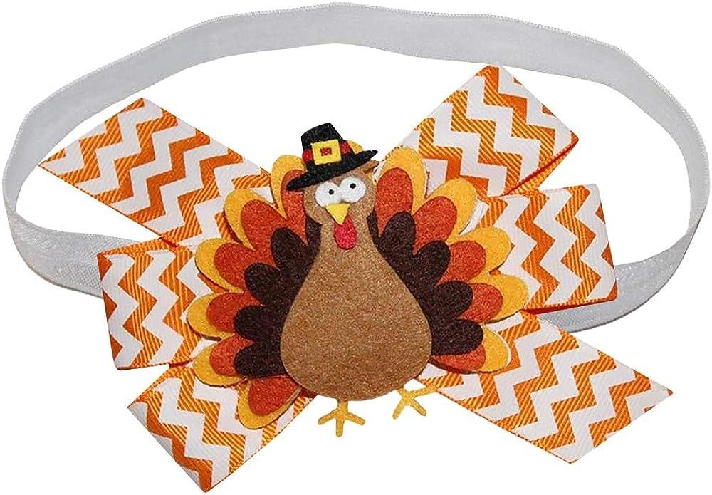 WD2U Baby Girls Pilgrim Tom Turkey Thanksgiving Hair Bow on Stretch Headband