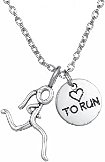 "Collar con colgante ""I Love to Run"" de 5 K y 10 K"