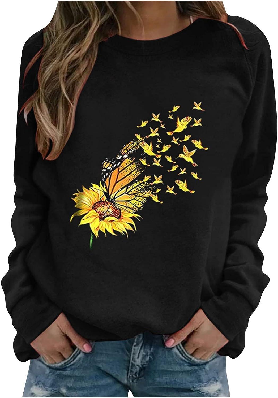 felwors Sweatshirts for Women, Women's Long Sleeve Lightweight Sweatshirt Casual Cute Print Crewneck Pullover Shirts