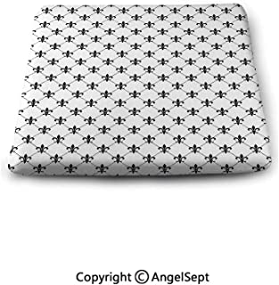 oobon Square Seat Cushion for Bar Stool,Fleur De Lis,Checkered Dotted Pattern with Monochrome Abstract Lily Flower Ancient Revival Decorative,Black White,Chair Pad Premium Comfort,Waterproof