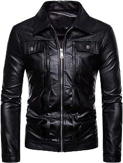 AOWOFS Men's Faux Leather Jacket Motorcycle Bomber Punk Slim Fit Embossed Black Coat