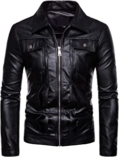 Men's Faux Leather Jacket Motorcycle Bomber Punk Slim Fit Embossed Black Coat
