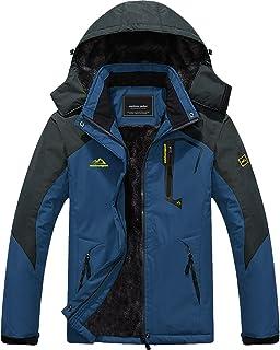 MAGCOMSEN Men's Winter Coats Warm Fleece Parka Waterproof Ski Snowboarding Jacket with Multi-Pockets (Denim Blue-1, Small-1)