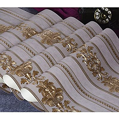 Vintage Gold Damask Wallpaper, eCommerceTek WallCovering Waterproof PVC Mat, 3D Fashion Wallpaper Decoration for Home Bedroom Livingroom - 374 IN x21 IN