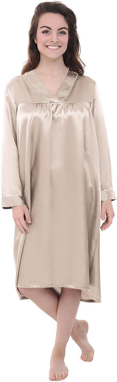 Alexander Del Rossa Womens Satin Nightgown, Full Length Long Sleeved Caftan